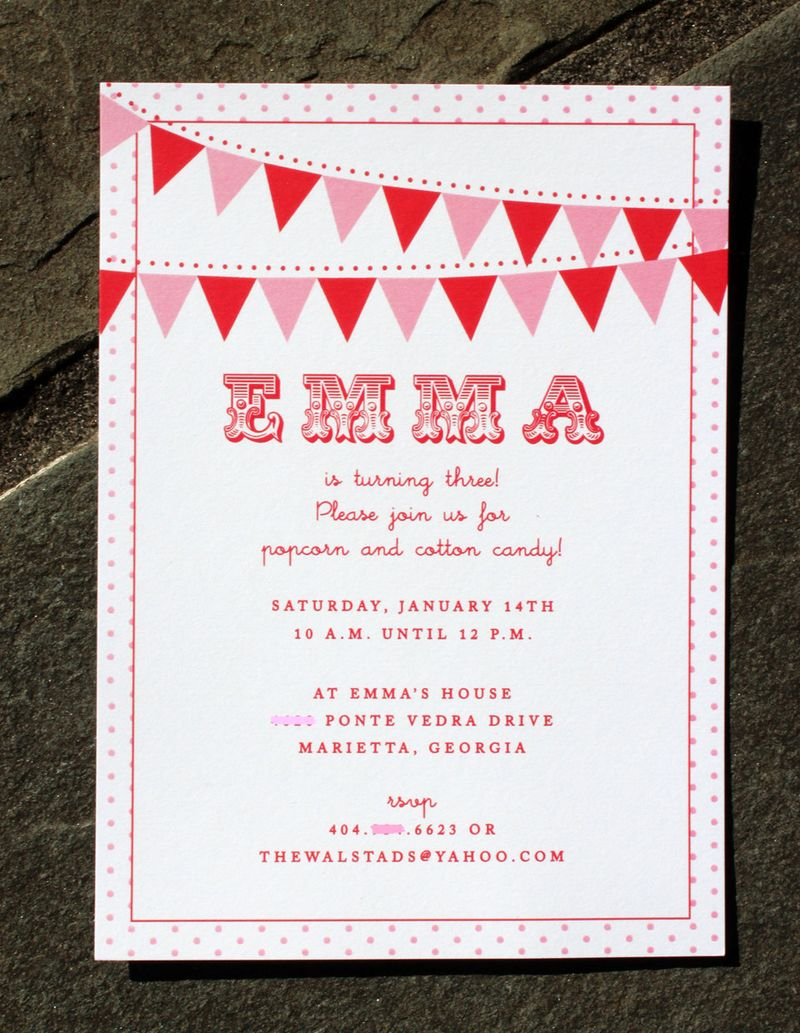 Bunting birthday invite